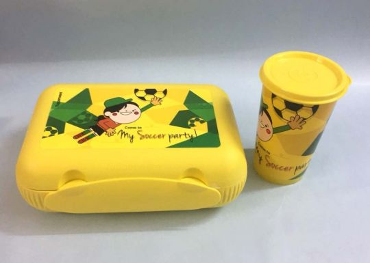 Tupperware Printed At Lunch / Tumbler -Sandwich & Salad  Multi Keeper - Yellow