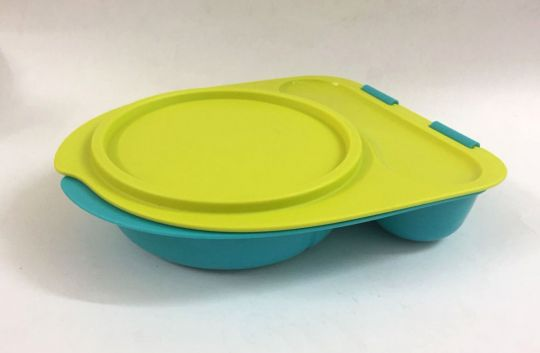 Tupperware Lunch Container with cutlery - Divided Lunch Box - lime Yellow